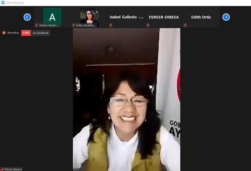 Reunión virtual sobre la Socialización de los resultados de la vigilancia a los servicios de salud, sexual reproductiva de mujeres adolescentes y jóvenes de Ayacucho