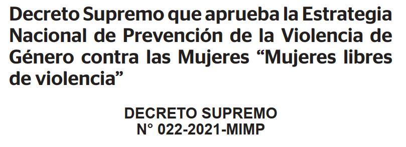 DS aprueba estrategia nacional de prevención de violencia de genero contra mujeres
